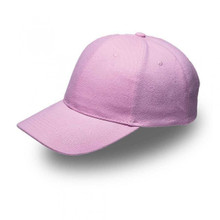 Pink 6 Panel Brushed Cotton Cap