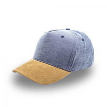 Fashion Suede Cap   Chambray Fabric 5 Panel Cap with Suede Peak