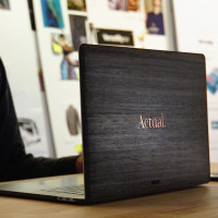 Custom Toast MacBook cover in ebony with copper inlay.