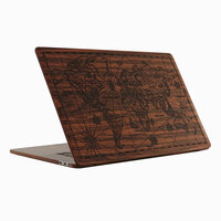 Custom map engraving on MacBook Pro 16 wooden Toast cover.