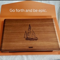 Sailboat engraving on Toast MacBook Pro lyptus wood cover.