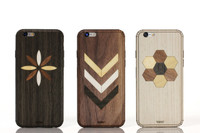 Embeded work phone cases and skins for iPhone - Ebony Flower, Walnut Chevron, Ash Hexagon