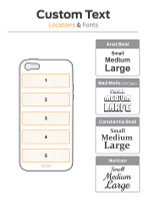 Text location diagram for Toast wood cover for  iPhone SE.