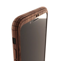 Toast wood iPhone SE (2nd gen) cover in walnut, front cover detail.