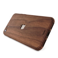 Toast wood iPhone SE (2nd gen) cover in walnut with cutout.
