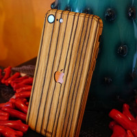 Toast wood iPhone SE (2nd gen) cover in zebrawood, lifestyle with vase.