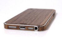 Toast wood cover for  iPhone SE 1st gen wood in walnut, bottom view.