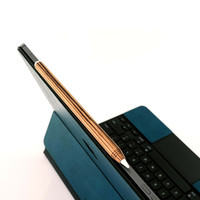 Toast wood cover for Apple Pencil in zebrawood, with Toast leather iPad cover.