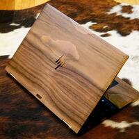 Toast HP Spectre wood cover in walnut, lifestyle image.