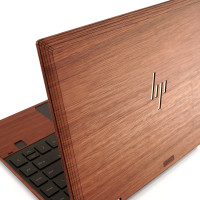 Toast HP Spectre wood cover in lyptus with trackpad surround, detail.