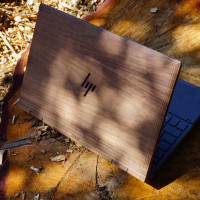 Toast HP Envy wood laptop cover in walnut.