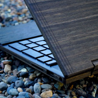 Toast HP Envy wood laptop cover in eco ebony, detail.