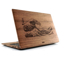 Custom engraved wood cover for Dell EXP laptop.  Walnut cover with the great wave.