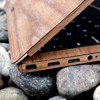 Detail of wood case for Dell XPS laptop, in walnut.