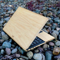 Maple wood protective and stylish cover for Dell laptop.