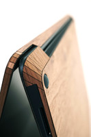Toast wood cover for Surface Laptop in walnut, detail.