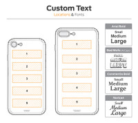 Text location diagrams for iPhone 8 and 8 Plus.