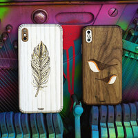 iPhone X and XS Max covers in Ash and walnut with feather and birds designs.