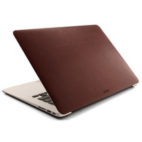 MacBook cover in syrah red leather.