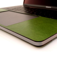 Trackpad surround in mojito green leather