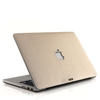 MacBook cover in prosecco silver leather.