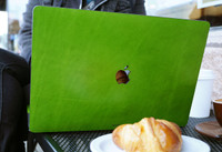 MacBook cover in mojito green leather