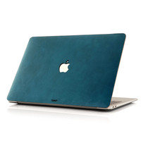 MacBook cover in bluetini leather