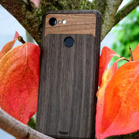 Pixel 2 Toast Cover in ebony with walnut inlay, with leaves.