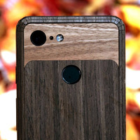 Pixel 2 Toast Cover in ebony with walnut inlay, detail.