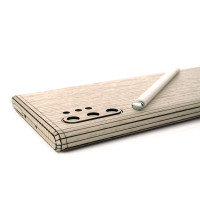 Toast wood cover for Samsung Galaxy Note 10+ in ash, detail.