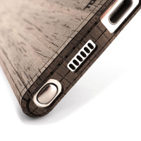 Toast wood cover for Samsung Galaxy Note 10+ in ebony, detail.