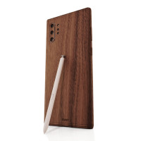 Toast wood cover for Samsung Galaxy Note 10+ in walnut, detail.
