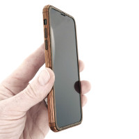 Toast iPhone 11 wood cover in walnut, detail.