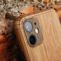 Toast iPhone 11 wood cover in walnut, with ebony camera cover.