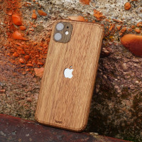 Toast iPhone 11  wood cover in walnut, lifestyle.