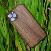 Toast iPhone 11  Pro wood cover in walnut, lifestyle.