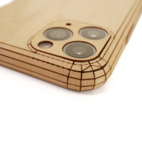 Toast iPhone 11  Pro wood cover in maple, close-up.