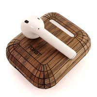 Toast AirPods case cover in walnut.