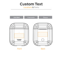 Custom text diagram for custom engraving AirPods case.