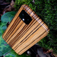 Toast Pixel 4 wood cover in zebrawood.