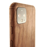 Toast Pixel 4 wood cover in walnut, detail.