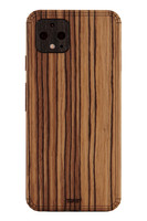 Toast wood cover for Google Pixel 4 in zebrawood.