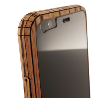 Toast Google Pixel 4 cover in zebrawood, detail of front cover.