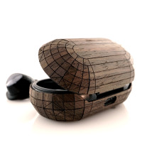 Toast wood cover for Samsung Galaxy Buds + in ebony wood.