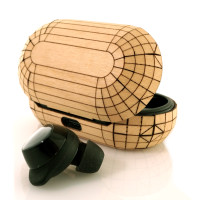 Toast wood cover for Samsung Galaxy Buds + in maple.