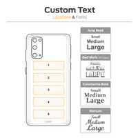 Samsung S20 laser text engraving diagram.
