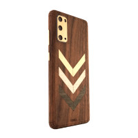 Samsung S20 with wood Toast cover in walnut with chevron inlay.