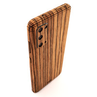 Samsung S20 with wood Toast cover in zebrawood.