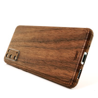 Samsung S20 with wood Toast cover in walnut.