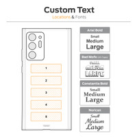 Custom text engraving, location diagram.